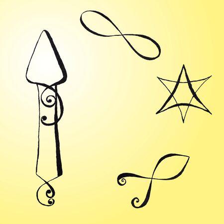 ichthys: Set with Random Ink Drawn Symbols