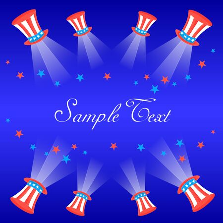 light beams: Card with US flag Cylinder Hats, Star, Light Beams and Space for Text.