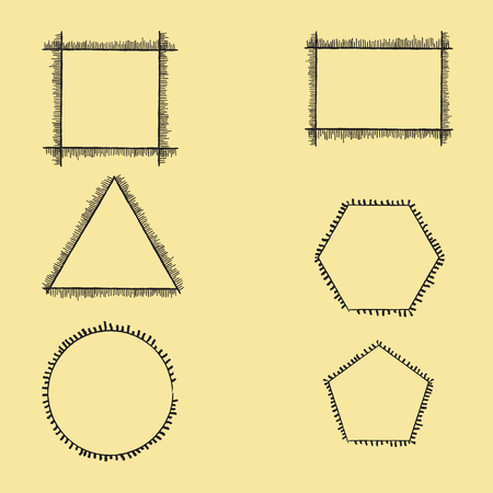 fringe: Geometric Frames with Fringe of Different Length and Thickness. Illustration