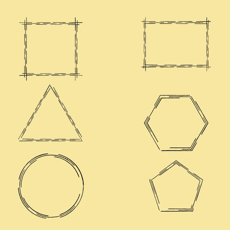 Geometric Frames Made with Dotted Line from Ink Brush