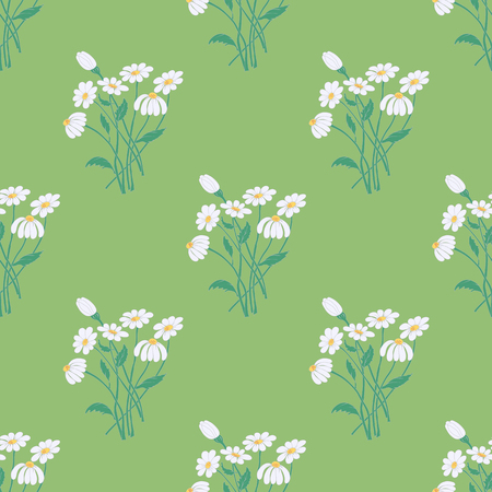 soothing: Seamless Pattern with Graceful Chamomile Bouquets on the Soothing Green Background.