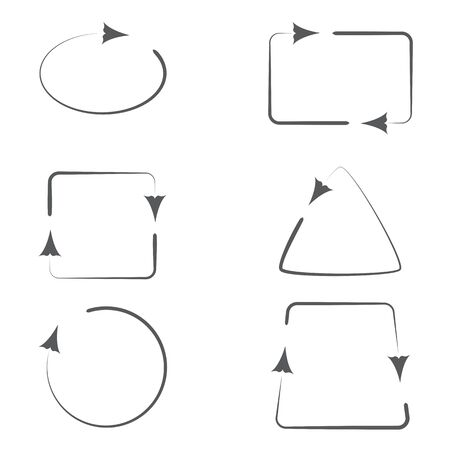 trapeze: Set of Geometric Frames with Curly Arrows Pointing Direction. Illustration