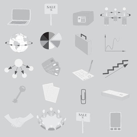 handgrip: Set with 20 Grayscale  Icons on Business Theme.