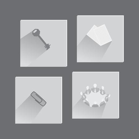 articulos de oficina: Objetos de oficina y conceptos en conjunto de iconos Hecho en Plano Estilo.