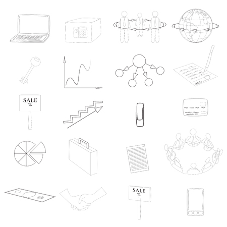 articulos de oficina: Set with 20 Business Contour Icons. Office Items and Business Concepts.