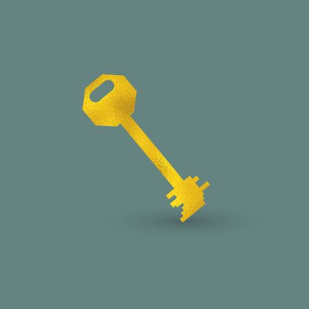 Single Key with Golden Texture on the Pine Green Background