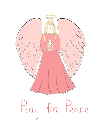 humility: Praying Female Angel and Lettering in Pink Colors.