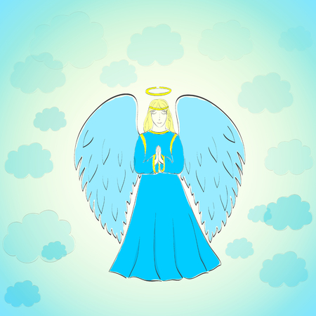 Hand Drawn Praying Angel in the Blue Sky with Light Clouds.