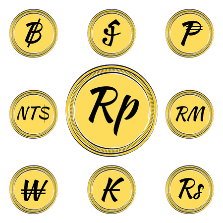 riel: Set of Coins with Symbols of 9 Asian Currencies. Hand Drawn Coins. Illustration