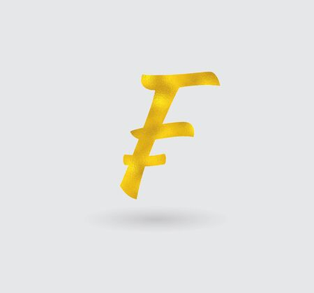 golden texture: Symbol of the Franc with Golden Texture Illustration