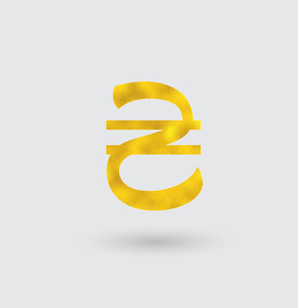 golden texture: Symbol of the Hryvnia with Golden Texture.