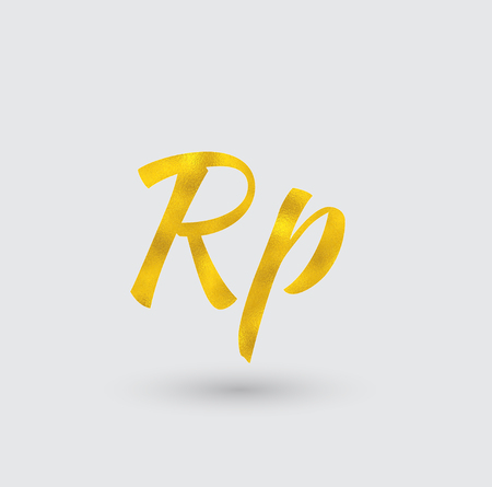 Symbol of the Indonesian Rupee with Golden Texture.