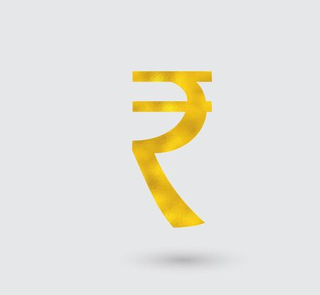 Symbol of the Rupee with Golden Texture.