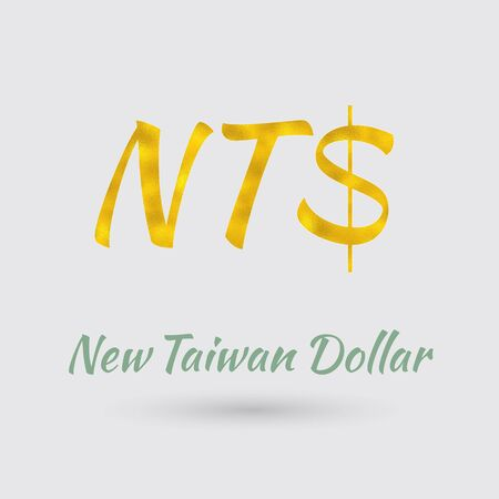 Symbol Of The New Taiwan Dollar Currency With Golden Texture