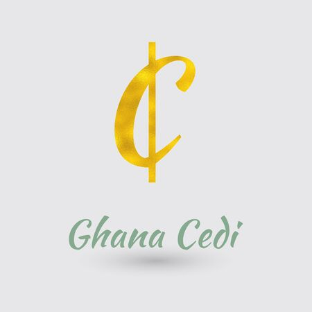 Symbol of the Ghana Cedi Currency with Golden Texture. Text with the Ghana Currency Name. Illustration