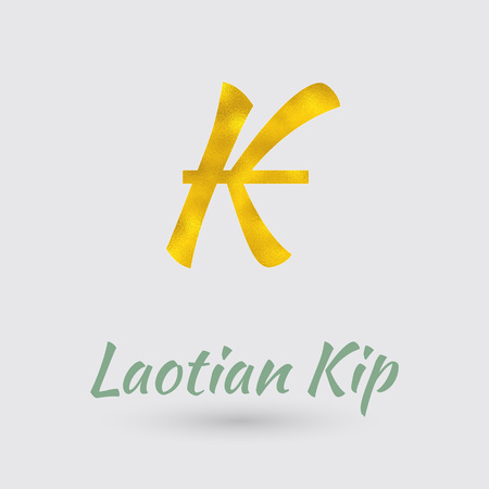 kip: Symbol of the Kip Currency with Golden Texture. Text with the Laos Currency Name.Vector