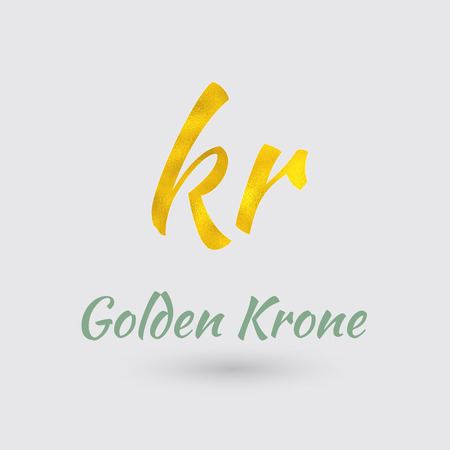 Symbol of the Krone Currency with Golden Texture. Text with the Currency Name. Illustration
