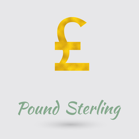 golden texture: Symbol of the Pound Sterling Currency with Golden Texture. Text with the UK Currency Name.Vector