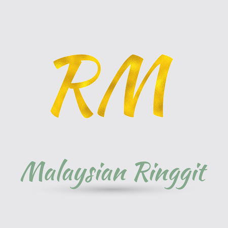 Symbol Of The Malaysian Ringgit Currency With Golden Texture