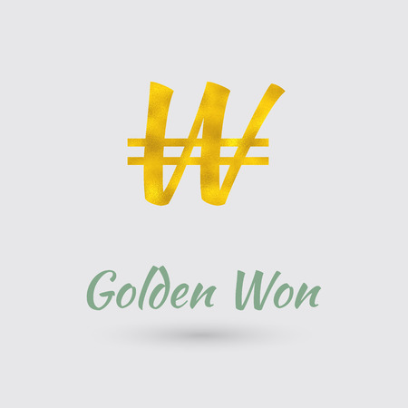 won: Symbol of the South Korean Won Currency with Golden Texture. Text with the South Korea Currency Name.Vector Illustration