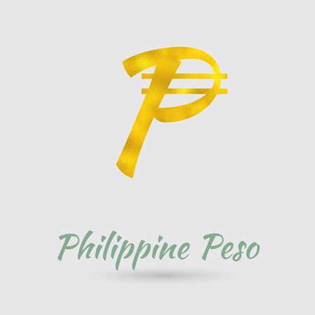 golden texture: Symbol of the Philippine Peso Currency with Golden Texture. Text with the Philippines Currency Name.