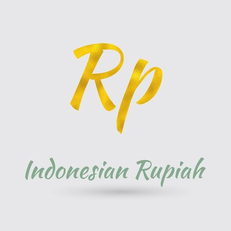 Symbol of the Rupiah Currency with Golden Texture. Text with the Indonesia Currency Name.