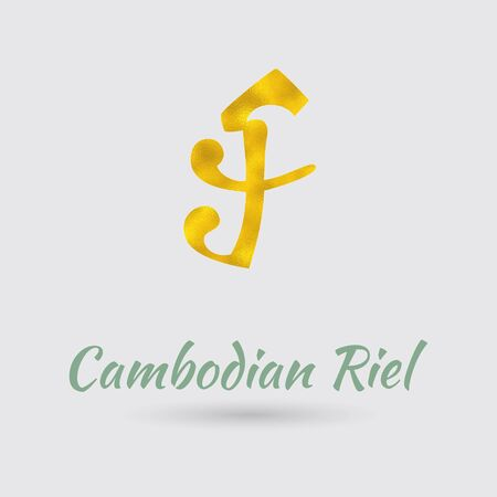 riel: Symbol of the Riel Currency with Golden Texture. Text with the Cambodia Currency Name