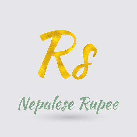 thrift: Symbol of the Nepalese Rupee Currency with Golden Texture. Text with the Nepal Currency Illustration