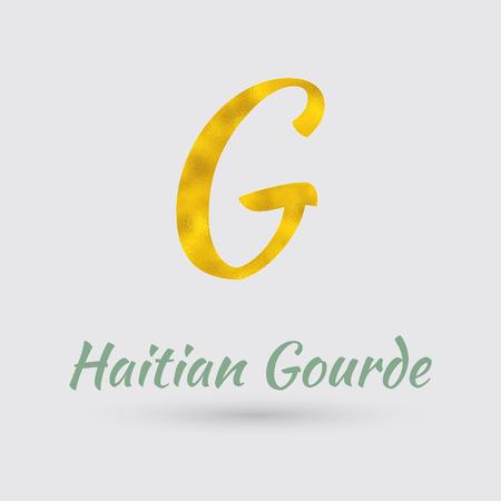 haiti: Symbol of Haiti Currency with Golden Texture.Vector Illustration