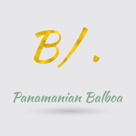 panamanian: Symbol of the Panama Currency with Golden Texture.Vector
