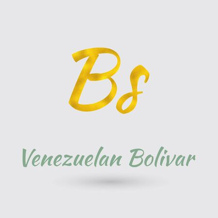 golden texture: Symbol of the Venezuela Currency with Golden Texture Illustration
