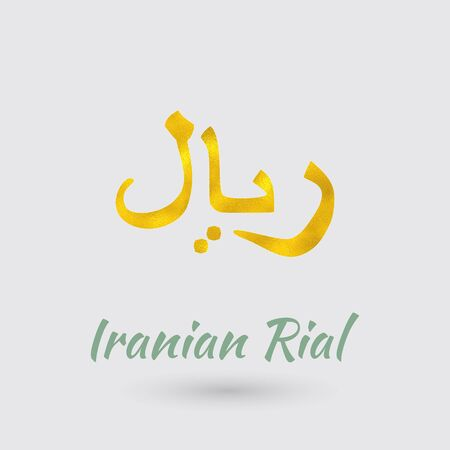 Symbol of the Iran Currency with Golden Texture.Vector