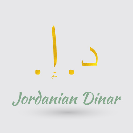 Symbol of the Jordan Currency with Golden Texture.Vector