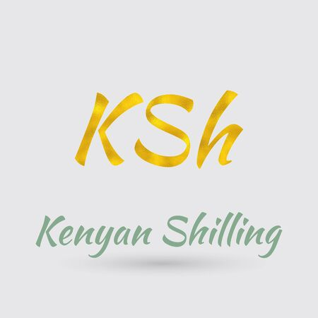 shilling: Symbol of the Kenya Currency with Golden Texture.Vector Illustration