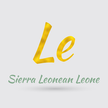 Symbol of the  Sierra Leone Currency with Golden Texture.Vector