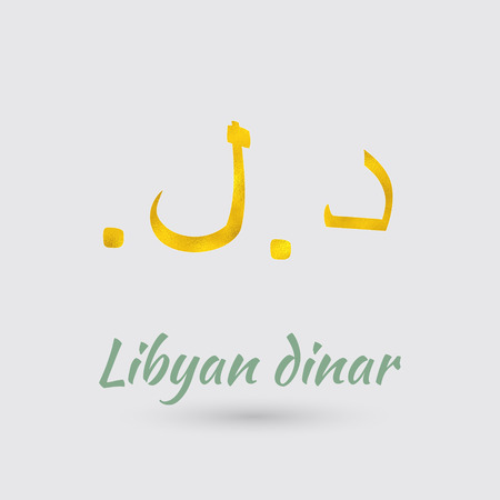 Symbol of the Libya Currency with Golden Texture.Vector