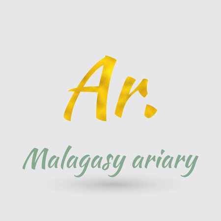 Symbol of the Madagascar Currency with Golden Texture.Vector