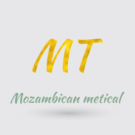 Symbol of the Mozambique Currency with Golden Texture.Vector