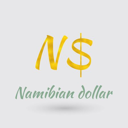 Symbol of the Namibia Currency with Golden Texture.Vector