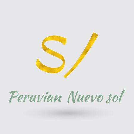 Symbol of the Peru Currency with Golden Texture.Vector Illustration