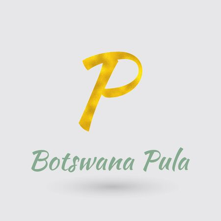 Symbol of the Botswana Currency with Golden Texture.Vector Ilustração