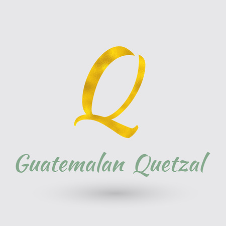 Symbol of the Guatemala Currency with Golden Texture.Vector Illustration