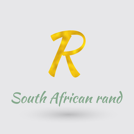 golden texture: Symbol of the South African Rand currency with Golden Texture.