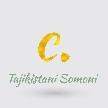 Symbol of the Tajikistan Currency with Golden Texture.