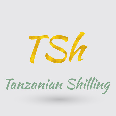 Symbol of the Tanzania Currency with Golden Texture. Illustration