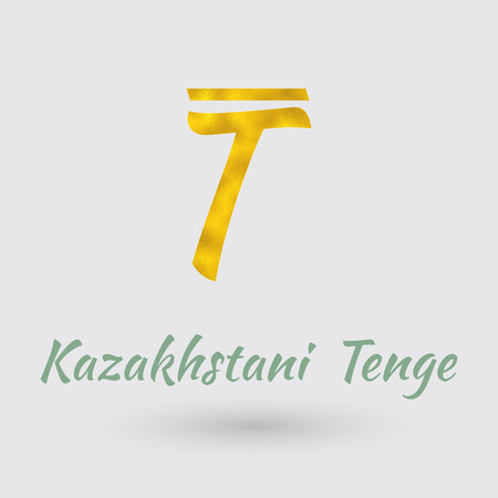 golden texture: Symbol of the Kazakhstan Currency with Golden Texture. Illustration