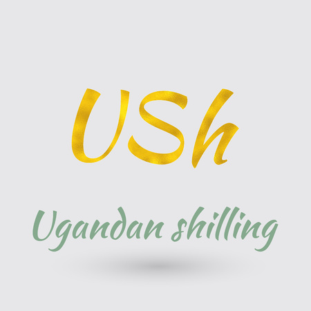 Symbol of the Uganda Currency with Golden Texture.