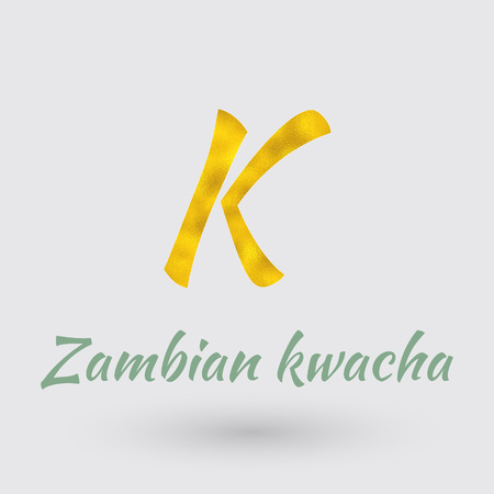 Symbol of the Zambia Currency with Golden Texture. Illustration