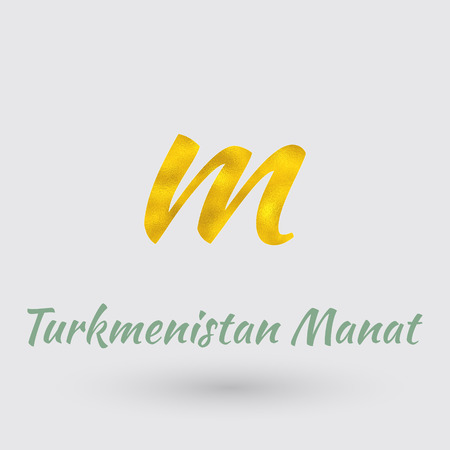 Symbol of the Turkmenistan Manat currency with Golden Texture. Text with the Turkmenistan Currency Name. Illustration