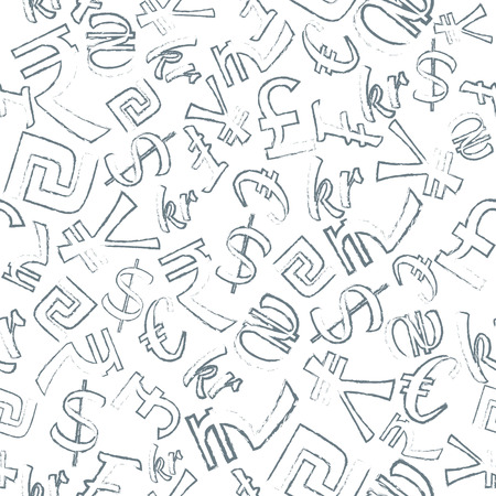 sheqel: Seamless Pattern of  Currencies such as  dollar, pound, euro, sheqel, hryvnia, yen, rupee. Charcoal Contour. Isolated on White Background.